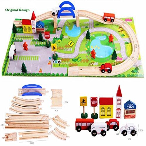 Aodicon 40pcs/set DIY Wooden toys railroad Railway Wooden Train Track set Building Blocks toys for children gifts