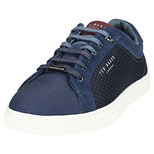 Ted Lace Up Sneakers (Ted Baker Men's Sarpio Geometric Textile Lace up Trainer Dark Blue-Navy-11)