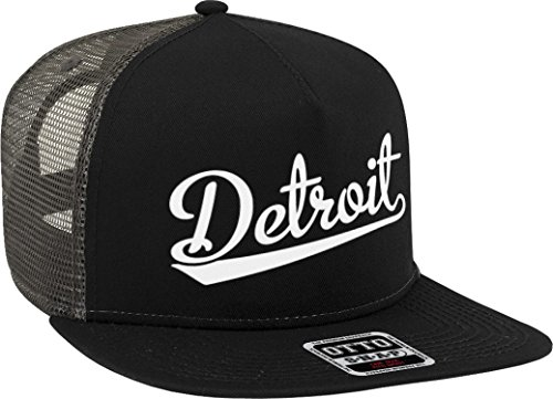 - NOFO Clothing Co Detroit Script Baseball Font Snapback Trucker Hat, Black/Charcoal Grey