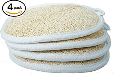 Top Quality Exfoliating Loofah Pad Scrubber (Pack of 4) - Natural Sponge for fresh & clean Bath Sponge Pad for Your skin -Clean With Nature.