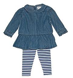 Ralph Lauren Polo Baby Girls Denim Shirt & Striped Leggings Set (9 Months)