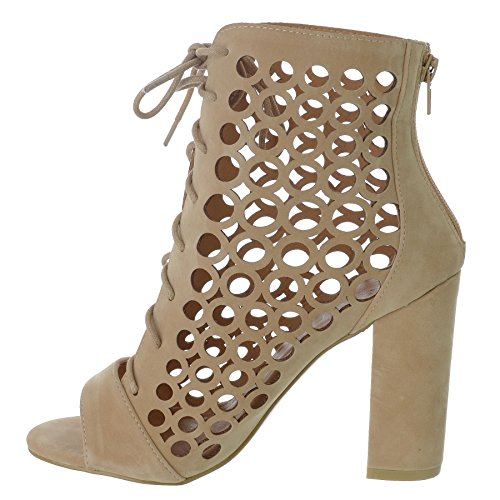 LADIES WOMENS TIE LACE UP CAGED BLOCK HEEL PEEP TOE ANKLE HIGH SANDALS CUT OUT BOOTS SHOES SIZE Nude Faux Suede at0TBeq