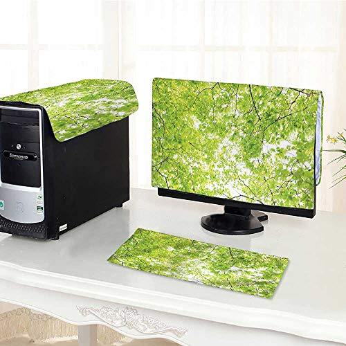 Auraisehome Computer dustproof Three-Piece Fresh Summer Branches and Leaves  of A Tree Epic View from The Ground for LED LCD Screens Flat Panel HD