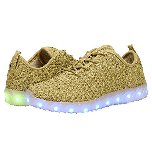 Coodo Uomo Donna Bambini Scarpe Led 7-colore-luci Usb Ricarica Sneakers 1-oro