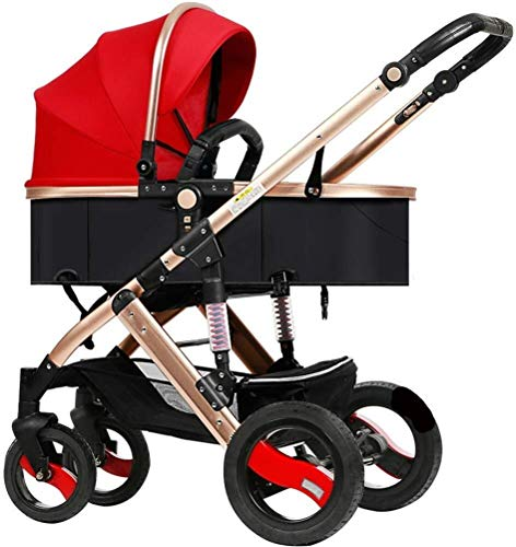 Laz Pram Folding Baby Stroller, with 5 Point Safety System, Toddler Pram from Birth to 36 Months (Color : Red)