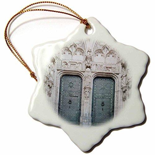 OneMtoss Danita Delimont Cathedrals Toledo Cathedral Door, Toledo, Spain EU RTI Rob Tilley Snowflake Porcelain Ornament -