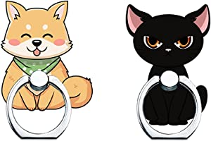 Cell Phone Ring Holder Stand,360 Degree Rotation Universal Finger Ring Kickstand Cute Cat and Shiba Inu Phone Ring Grip Compatible with iPhone, Samsung, LG, Sony, HTC and More