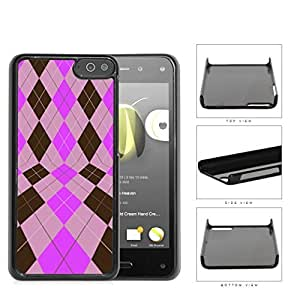 Preppy Argyle In 2 Dimensions Pink And Brown Hard Plastic Snap On Cell Phone Case Amazon Fire