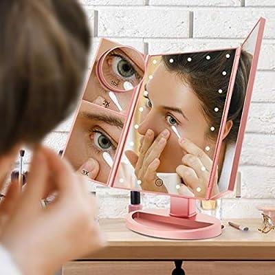 FASCINATE Espejo Maquillaje con Luz, Espejo de Mesa Tríptica ...