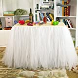 Haperlare White Tutu Tulle Table Skirt Table Cloth Skirts for Wedding Christmas Party Baby Shower Birthday Cake Table Girl Princess Decor,31x36inch
