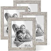 Boichen 4 Pack 8x10 Picture Frame Reclaimed Wood Finish High Definition Glass Photo Frame Tabletop or Wall,Wave Woodgrain Photo Frames