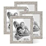 Boichen 4 Pack 8x10 Picture Frame Wood Pattern High Definition Glass Rustic Photo Frame Tabletop or Wall,Wave Woodgrain Photo Frames