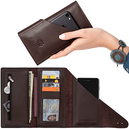 Marsyella Women's Large Capacity Genuine Leather Wallet Case - RFID Credit Card Holder Purse - Trifold Wrap Wallet Cell Phone Case for Women