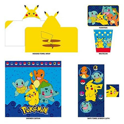 Kids 5-Piece Bathroom in a Bag Set Exclusive, Kids Bathroom, Bathroom Accessories For Kids, Kids Hooded Towel, Kids Shower Curtain, Kids Bath Towels, Kids Rug (Choose Your Character) (Pokemon)
