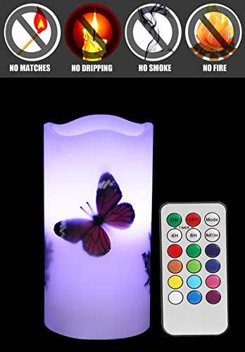 LED Candles Flameless Battery Operated with Remote Timer 6'' Tealight Butterfly & Plants Decor Real Wax Electric Candle Lights 12 Color Changing for Home&Kitchen Indoor/Outdoor Party by Wending (Image #3)