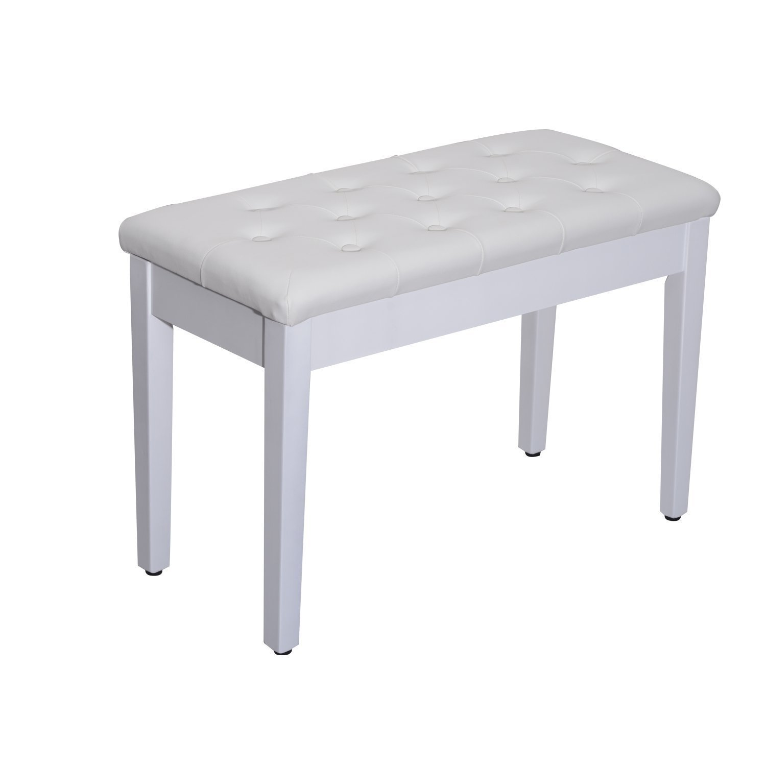 Faux Wood Leather Padded Double Duet Keyboard Seat Piano Bench Music Storage (White) GF29521