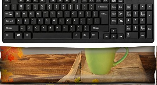 Liili Keyboard Wrist Rest Pad Office Decor Wrist Supporter Pillow Cup of tea with autumn leaves reflection on newspaper wood Image ID 22759699