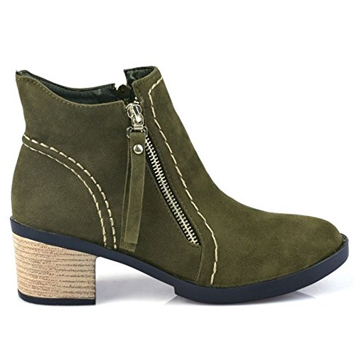 Toe Fashion Double Heel Round Green Ankle Mid KemeKiss Zipper Women Army Winter 237 Booties 5atqnw6x