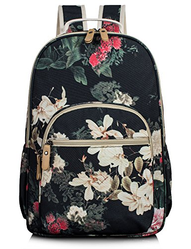 School Bookbags for Girls, Retro Floral 15.6 Inch Laptop Backpack College Bags Light Daypack by Leaper (Floral Greyish-Black)