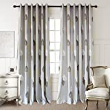 Grey Blackout Lined Valance Drapes – Anady Top 2 Panels White/Brown/Yellow Leaf Curtains Tiers for Basement Grommet 30″W x 24″L Review