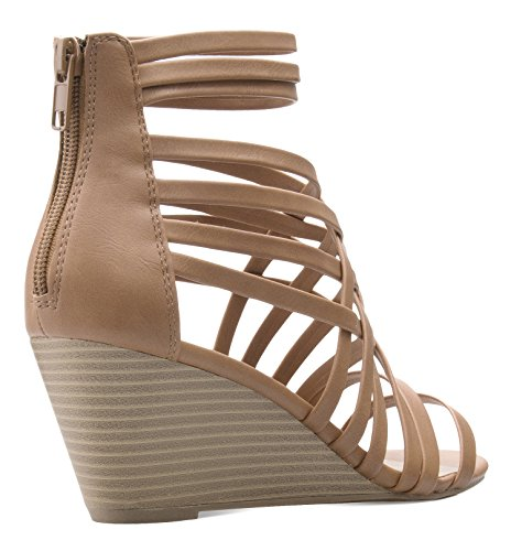 Comfort Sexy Fasionable Open Casual Toe Style K Woven Heel OLIVIA Sand Women's Strappy Sandals Wedge HYnavqw