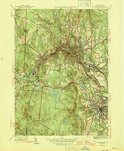 Hill Rollstone (YellowMaps Fitchburg MA topo map, 1:31680 Scale, 7.5 X 7.5 Minute, Historical, 1946, Updated 1954, 20.6 x 17 in - Tyvek)