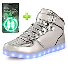 welltree Kid & Woman & Man USB Charging 7 Colors High Top LED Sneakers Light up shoes