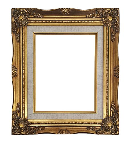 25 Canvas (Ornate Baroque Gold Painted Wooden Frame with Cream Linen Liner Shabby Chic Picture Frame (20x24 w/ glass+back))