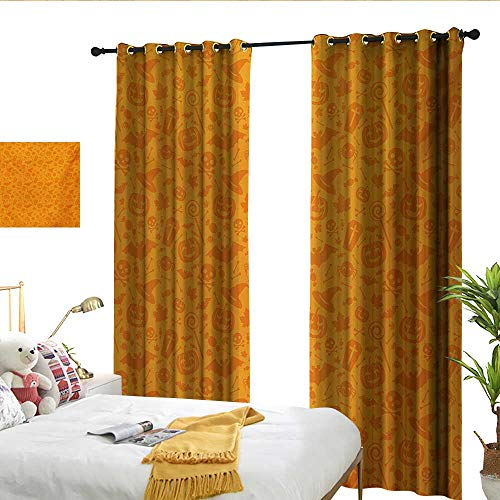 WinfreyDecor Halloween Blackout Curtains Monochrome Design with Traditional Halloween Themed Various Objects Pumpkin Bat Print for Living, Dining, Bedroom (Pair) W84 x L108 ()