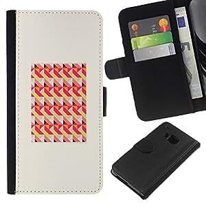 [Neutron-Star] Modelo colorido cuero de la carpeta del tirón del caso cubierta piel Holster Funda protecció Para HTC One M7 [Patrón de marco melocotón rosa]