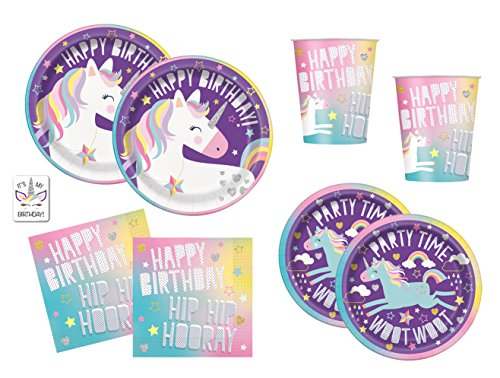 Rainbow Unicorn Birthday Party Supplies Pack - Dinner Plates, Cake Plates, Cups, Napkins (Basic - Serves 16)