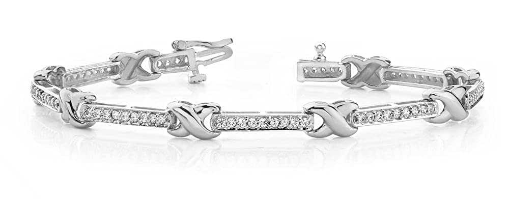Triostar 925 Sterling Silver Simulated Diamond White Gold Over Fashionable Link Bracelet