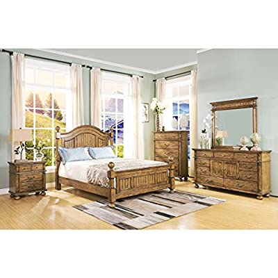 Colton Country Western Panel Post E King Bedroom Set in Antique Pine