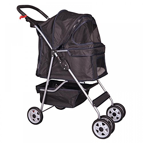 Black 4 Wheels Pet Stroller Cat Dog Cage Stroller Travel Folding Carrier 04T