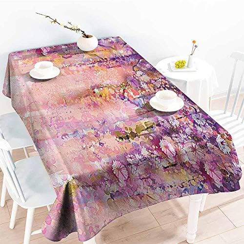 Wisteria Natural Hues Natural - Homrkey Polyester Tablecloth Spring Flowers Decor Watercolor Painting Effect Wisteria Blossoms Party W52 xL72
