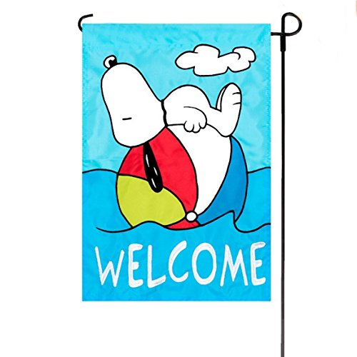 Summer Peanuts Welcome Embroidered / Applique Garden Flag 12