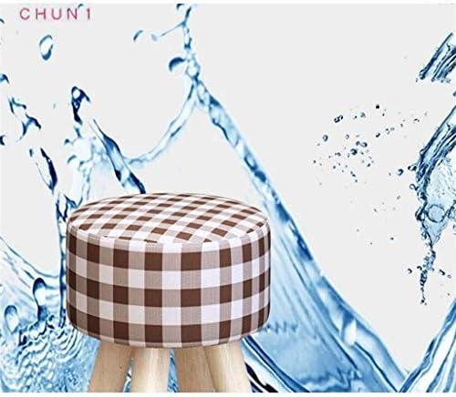 En bois massif Tabouret haute, ronde amovible en tissu rembourré Couverture Repose-pieds Chambre Coiffeuse maquillage Tabouret 109 (Size : 2)