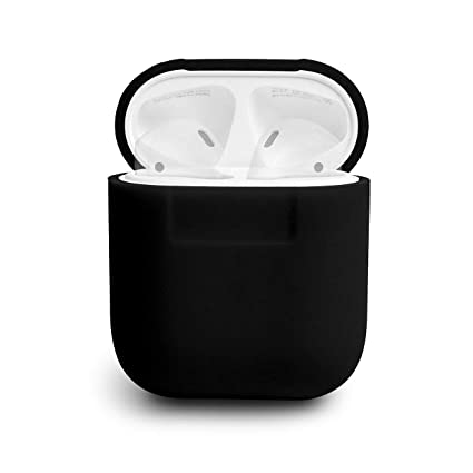 reputable site f9fd9 d99c8 elago AirPods Silicone Case [Black] - [Compatible with Apple AirPods 1 & 2;  Front LED Not Visible][Supports Wireless Charging][Extra Protection] for ...