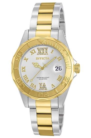 40666e8f7 Invicta 12852 Pro Diver Reloj para Mujer acero inoxidable Cuarzo Esfera  plata: Amazon.es: Relojes