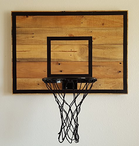 Reclaimed Wood Basketball Hoop with Painted Lines by Blue Fox Furnishings