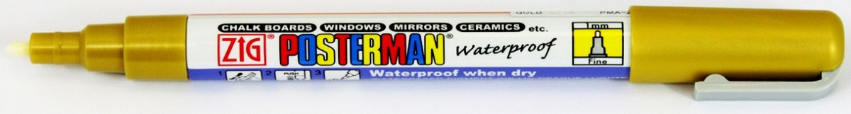Zig Kuretake Posterman Metallic Gold Fine (1mm) Nib Tip Liquid Chalk Marker Pens Waterproof Blackboard Whiteboard Outdoor Glass Metal Plastic Wood Paper Illumi Board (Pack of 1) Kuretake UK Ltd.