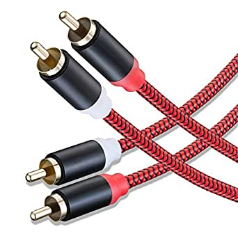 RCA Cable 50Ft,2Rca Male to 2-RCA Male Audio Stereo Subwoofer Cable [Hi-Fi Sound] Nylon-Braided Auxiliary Audio Cord for Home Theater, HDTV, Amplifiers, Hi-Fi Systems,Speakers and etc(50Ft/15M)
