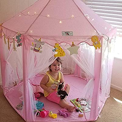 Yoobe Hexagon Princess Castle Play Tent Indoor for Kids Gift with 23ft Star Lights and Animal Cards: Toys & Games