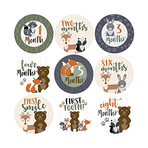 16 Woodland Animals Baby Milestone Stickers, 12 Monthly Photo Picture Props for Boy or Girl Infant Onesie, 1st Year New Months Belly Decals, Scrapbook Memory Registry Gift, Best Shower Basket - New Stickers Scrapbook Sticky