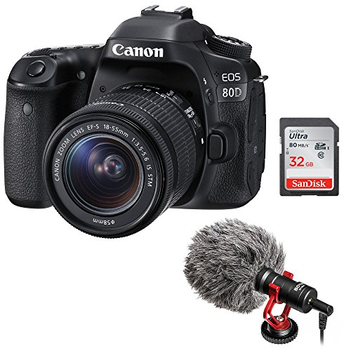 Canon EOS 80D DSLR Camera with 18-55mm Lens plus Boya BY-MM1