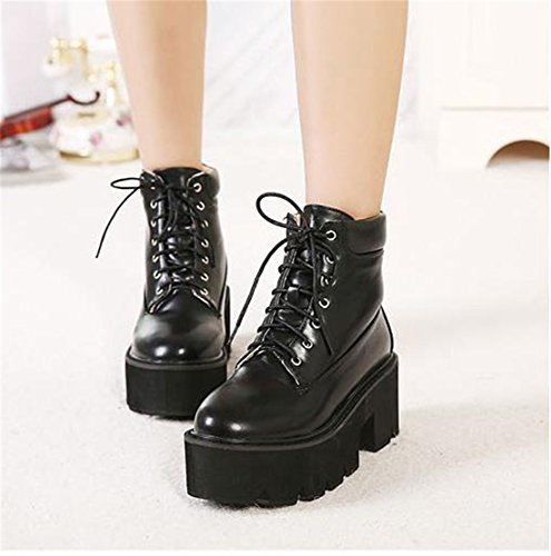 Shoes Platform Chunky PU Chaussures Black Warm Up Faux Bottes Lace Women Casual Boots Leather Ankle qtPwnZSA