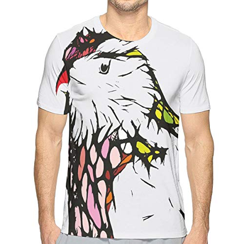 3D Printed T Shirts,Chicken Bird Head Portrait Sketch with Colorful Details Caricature Pet Zoo Image