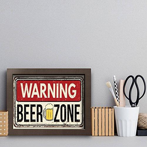 Quadro Cozinha Frase Cerveja Beer Zone 22x32cm Moldura Marrom