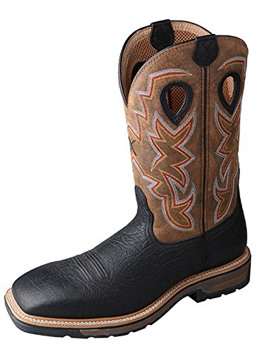 Twisted X Mens Black Leather Steel Toe Lite Weight Cowboy Work Boots 12D ()