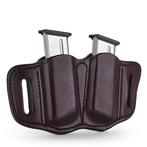 1791 GUNLEATHER 2.1 Mag Holster - Double Mag Pouch for SINGLE STACK Mags, OWB Magazine Pouch for belts - Signature Brown (1911 Mag Pouch)